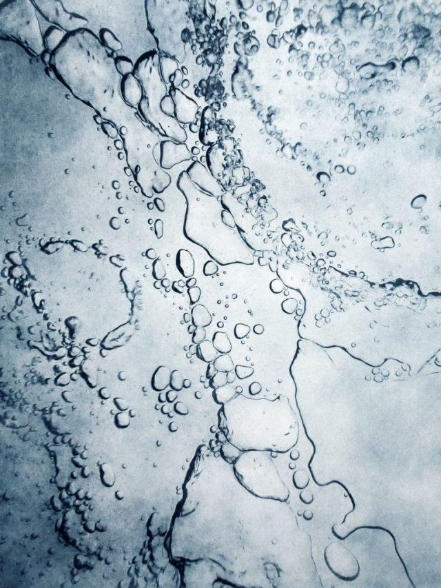Lufteinschluss III und IV (unter Eis) – 2019, Photogravur auf Büttenpapier, 121 x 91 cm